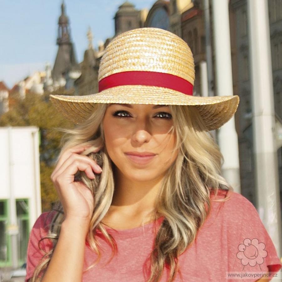 8341e4358 Karpet dámsky slamený klobúk zdobený rypsovou stuhou Ako v perinke