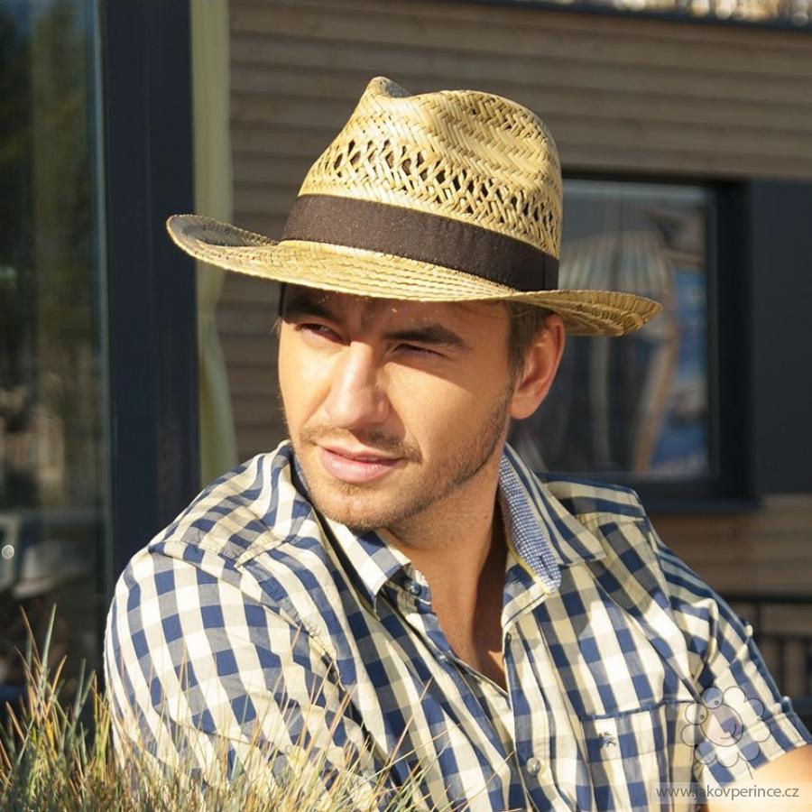 64c5280c6 Karpet pánsky klobúk slamený s krempou nahor a stuhou Ako v perinke